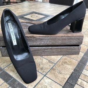 Black Via Spiga Block Heel Pumps